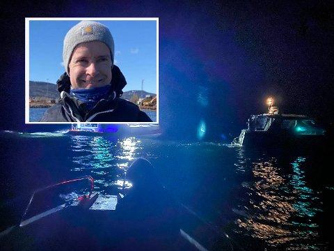 HYLLES: Arne Kristiansen fra Lier (innfelt) reagerte lynraskt og reddet trolig livet på en båtfører utenfor Rakke lørdag. Ny hylles han for sin innsats. Bildet er fra redningsaksjonen.