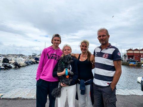DRAMATISK: Familien Brekke fikk nok en mer dramatisk start på fredagen enn de ønsket seg. F.v.: Marcus Cross Ulleberg, Kine Marita Brekke, Marita Torgersen Brekke, Morten Brekke.