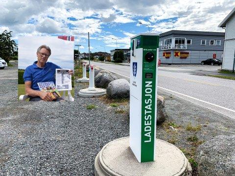 REAGERER: Ladestasjonene på Risøyveien i Stavern er for øyeblikket ute av stand, og vil også være det en god stund framover. Det reagerer Kåre Christoffersen sterkt på.