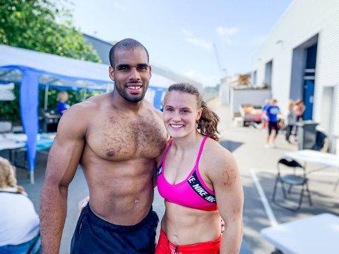 LARVIKS SPREKESTE PAR?: Victor Bouquetale (26) og Nora Skuggedal (22) fant hverandre gjennom treningen, og gjorde det begge bra i Larvik Games denne helgen.