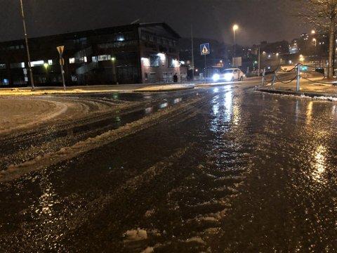 EKLE KJØREFORHOLD: Slik så det ut på Stavernsveien i morgentimene torsdag.