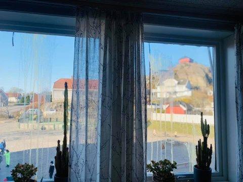 TILGRISET: Dette er utsikten fra personalrommet etter helgas eggekasting mot Stavern skole.