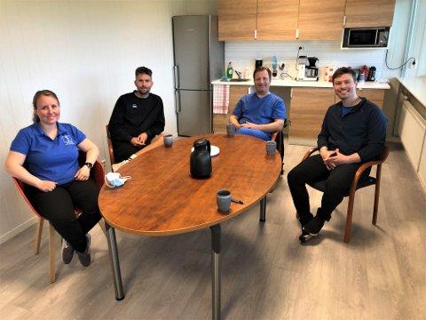 SAMARBEID: Fire i samme bransje har slått seg sammen og startet helsepark på Fram. Fra venstre: Ellen Amundrød, Håvard Smestad, Baard Celius-Hansen og Carl Petter Auby.