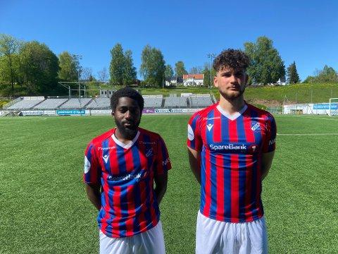 Årets første: Shariff Cham (t.v.) og Thomas Kongerud scoret målene for Fram mot Asker lørdag ettermiddag. Sesongens første treningskamp endte 2-2 mot avdelingsrivalen.