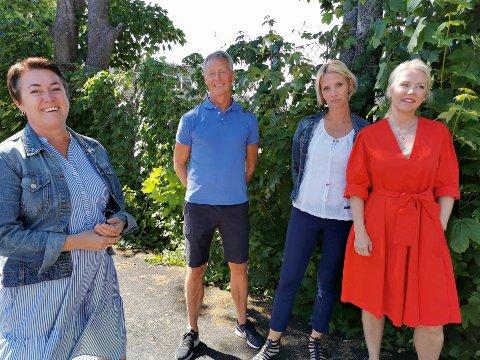 TILRETTELEGGING: Frøydis Straume (prosjektleder, Våre unge), Bård Haga (leder, Oppfølgingstjenesten), Therese Sando (Oppfølgingstjenesten/Lærlingeprogrammet) og Inger-Lin Matre (Lærlingeprogrammet) har tro på at alle ungdommer kan fullføre et opplæringsløp med riktig oppfølging og tilrettelegging.