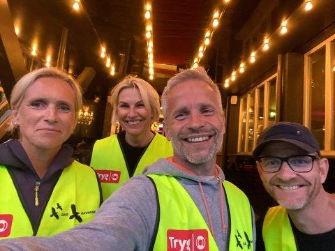 ER I GANG: Flere områder har fått natteravntjenesten på beina. Disse hører til i Stavern. Fra venstre Eva Skage, Janne Andersen, Daniel Jonsson og Terje Prytz.