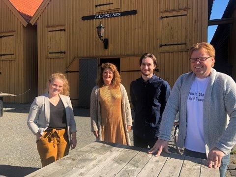 SAMARBEID: (F.v) Webredaktør i Visit Vestfold Una Tombre Hansen, Leder Ellen Larsen, filmskaper Marcus Støren og forfatter Jørn Lier Horst..