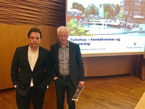 TIL BYEN: Rådmann Bjørn Gudbjørgsrud og ordfører Einar Busterud holder fortsatt Hamar som en sterk kandidat til å få et storsykehus.