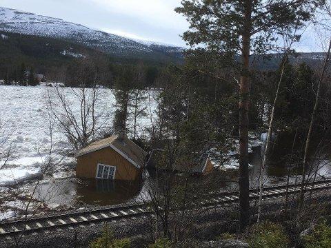 Dette huset har flyttet på seg 50 meter som følge av flommen i Glomma. Foto: Turid Alander