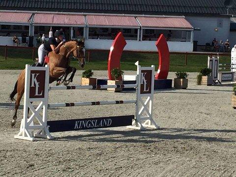 FEILFRITT: Louise Pamela Ekroll Verstegen og hesten Ani Gem, og resten av laget fra Arendal og Grimstad rideklubb, red feilfritt i finalen i lag-NM i sprangridning lørdag