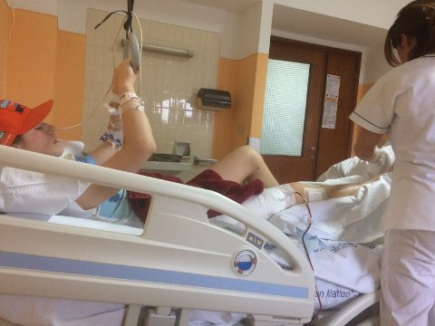 SYKEHUS: Petter Rødsdalen Sønsthagen ble innlagt på sykehus etter ulykken i Italia.