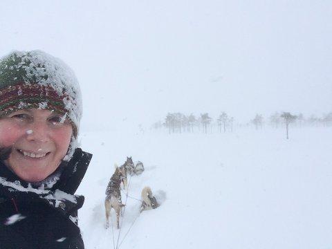 HERLIG NATUR: Gro Britt Skarseth med hundene sine på ei myr i Elverum. Her vil hun bo.
