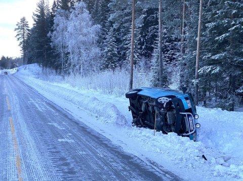 HAVNET AV VEGEN: Bilføreren valgte ifølge politiet å styre mot grøfta istedet for å risikere kollisjon med to elger.