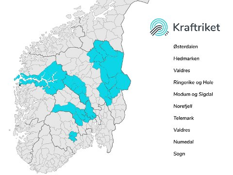 UTVIDER RIKET: Etter ny fusjon mellom Kraftriket og Krødsherad Energi, ser riket slik ut.
