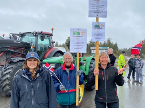 UNG DEBUTANT: Anne Gine Berg (til venstre) er bonde på Evenstad og deltok i sin første demonstrasjon. Her sammen med Ingrid Gjems og Ingrid Sløgedal fra Åmot. - Det er viktig å vise støtte til norsk landbruk. Det gjelder framtiden, sier Berg.