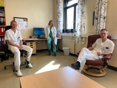 ULOGISK: – Det er helt ulogisk å legge begge akuttsyehusene nord iMjøsa, sier Helge Wangen (til venstre), Trine Krog og Anders Meyer-Nilsen.