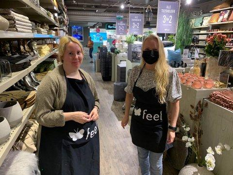 FEEL: Linda Tomassen på Feel velger å bruke munnbind, kollega Lise Johnasen lar være så mye hun kan.