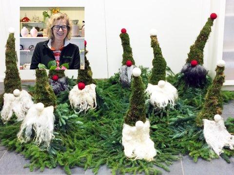 Hanne Berit Helgerud Bjørndalen har fylt opp noen kurs, men håper ennå flere vil komme for å lære og lage fin pynt til jul. Foto: Anette Sahlsten og privat
