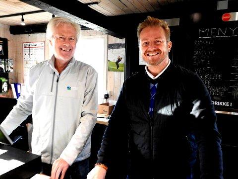Sesongstart på Tjøme: Her ser vi fungerende daglig leder Ove Salvesen og klubbens pro (trener) Martin Simensen.