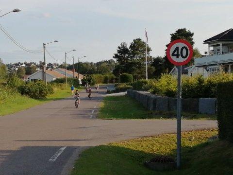 Denne veien er fartsgrensen 40 km/t, men naboer opplever at folk kjører mye fortere enn det.