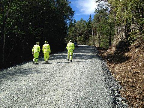 Denne opparbeidede anleggsveien i Brentåsen på Kjørholt er dobbelt så bred som akseptabelt i verdifullt naturområde, mener Fylkesmannen som reagerte da de var på befaring her.