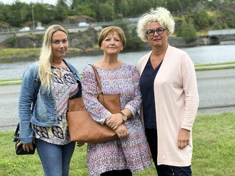 Takk bård: – Veldig bra at ansatte nå vet hva Hoksrud og Frp vil gjøre med kommunen, sier f.v. Marie Bakken, Marianne Nilsen Skjønstad og Hege Braathen i Fagforbundet.