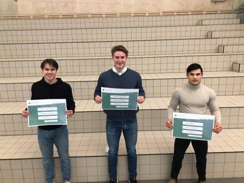 Daniel Thuv Eriksen, Sturle Mogstad og Jacob Tangen fikk alle hvert sitt idrettsstipend mandag.
