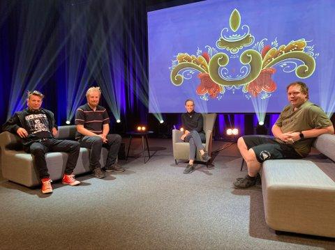 Pål Berby, Lars Martin Eriksen, Kristine Eldorsen og Rune Sundby er en del av prosjektgruppa som sørger for direktesendingen 17. mai. På hovedscenen har de laget et proft TV-studio, hvor opptakene vil bli gjort med fem kameraer.