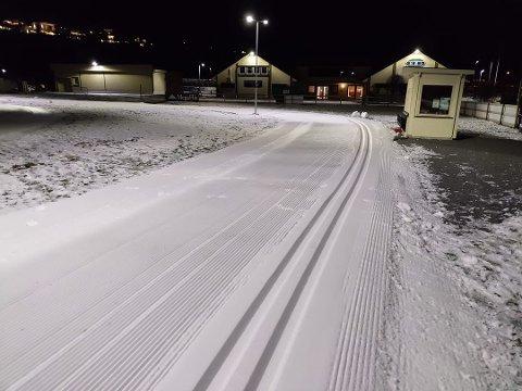 TRIKKESKINNER: Det er trikkeskinnespor i 400 meter av skiløypa på Heistad nå. Og i de resterende 900 meterne av den nye rulleskiløypa er det kjørt opp løype som er glimrende for dem som skøyter på skia.