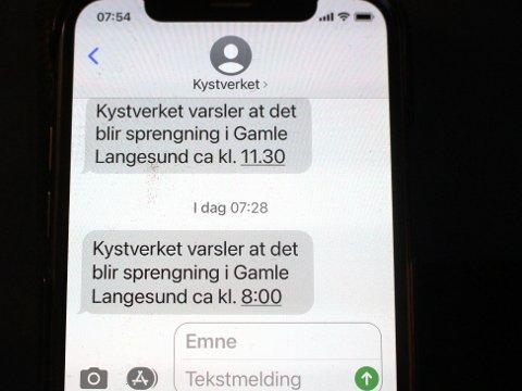 VARSEL: Kystverket sender melding på SMS om tider for sprengning i farleden Gamle Langesund i forbindelse med prosjektet Innseiling Grenland. Man kan abonnere gratis på meldingstjenesten ved å bestille den med melding til nummeret 95020544.