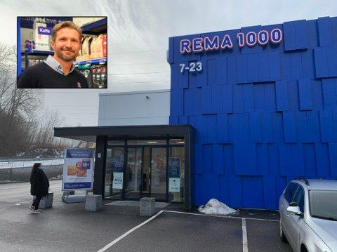 Over Borgen (innfelt) er regionsdirektør i Rema 1000. Han sier at de ansatte fortsatt skal bruke munnbind når de er på jobb.