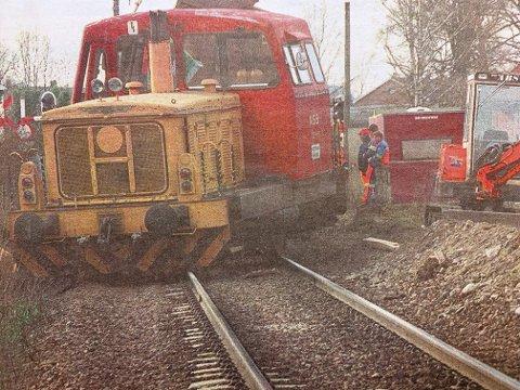 SPORET AV: Avsporingen førte til full stopp på linja mellom Skien og Porsgrunn.