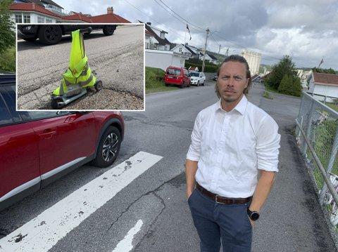 STJÅLET: Sparkesykkelen som Vegard Gunleiksrud satte ut foran huset sitt er sannsynligvis blitt stjålet, ettersom verken politiet eller kommunen ser ut til å ha noe med fjerningen å gjøre.