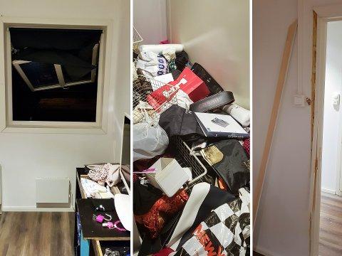 KOM HJEM TIL DETTE: Slik så boligen til familien Singh ut etter at tyvene hadde vært på ferde. Et vindu og en dør var brutt opp, og klær og diverse ting lå slengt utover gulvet.