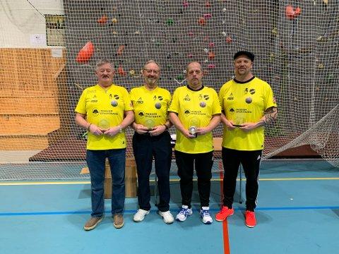 2.plass: Lars Rune Lauritzen, Leif Ramstad, Jon Ingar Larsen og Simon Larsen i Oshaug IL Bowls tok andreplass i NM firemanns bowls.