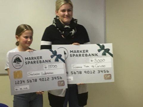 Marker Sparebank-cup: Vinner Susanne B. Yven (til høyre) med Celine Salamonsen, som tok imot 2. premien på vegne av sin søster, Charlotte.
