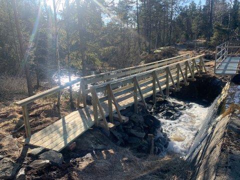 BROBYGGERE: DNT Indre Østfold har bygget ny bro i sørenden av Krokvannet.