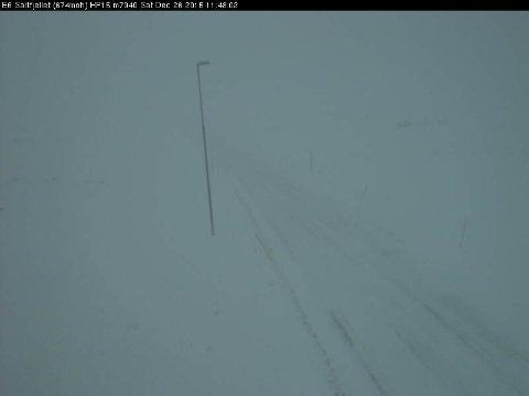 Sånn er værforholdene på E6 over Saltfjellet for øyeblikket. Det er en grunn til at veien bare er åpen for kolonnekjøring.