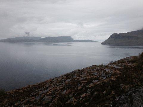 Her på Stigfjorden i Lurøy kommune ble det observert olje i dag tidlig.