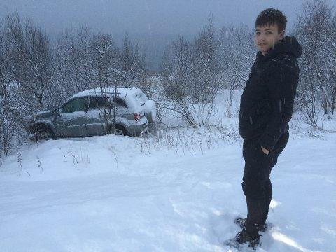 Lars Kristian Midtstraum (21) kom heldigvis helberget fra utforkjøringen.