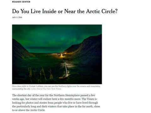 Skjermdump av New York Times' artikkel.