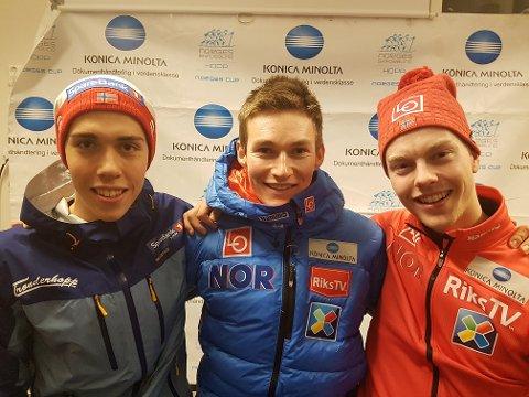 Robin Pedersen (i midten) vant lørdagens norgescuprenn i hopp i Granåsen. Foto: Norges Skiforbund