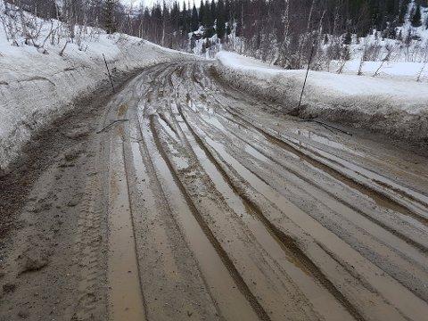 Den gruslagte delen av veien gjennom Bjynnvassdalen har ikke vært framkommelig de siste dagene.