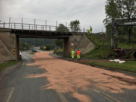 Brua må repareres, både veien og jernbanen blir stengt. På veien er det gruset på grunn av oljesøl.