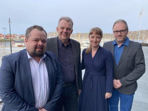 Fylkesråd Ingelin Noresjø sammen med, fra venstre, direktør i Rana utviklingsselskap Ole M. Kolstad, styreleder Torstein Dale Sjøtveit og daglig leder Tom Einar Jensen i Freyr.
