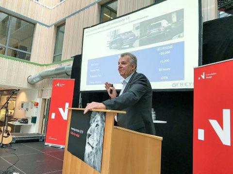 Torstein Dale Sjøtveit fra Freyr AS på Campus Helgeland under Innovasjonstalen 2019.