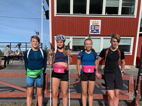 GOD UTTELLING: Kasper Å. Kalkenberg, Rikke Kalkenberg, Kristine Ingebrigtsen og Tobias Westman, alle Skonseng UL, leverte palløp i sin klasse i det svenske mesterskapet i skiskyting.