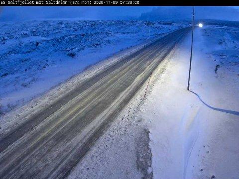 Sånn ser det ut på Saltfjellet mandag morgen.
