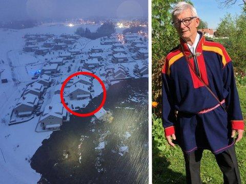 HER GIKK RASET: Øystein Gjerdrum (68) passet barna til datteren sin da jordraset gikk kun 20 meter fra boligen.