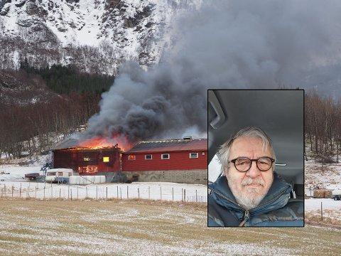 Dramatisk: Kjetil Skogen var vitne til den voldsomme brannen på Kløkstad lørdag morgen. Hobbyfotografen hjalp selv til ved å låne telefonen sin slik at eier av gården ble varslet.